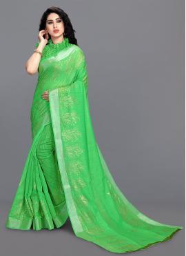 Exquisite Foil Print Green Cotton Printed Saree