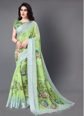 Exquisite Green Floral Print Cotton Classic Saree