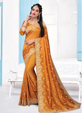 Exquisite Mustard Embroidered Silk Contemporary Saree