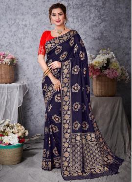 Exquisite Navy Blue Mehndi Designer Traditional Saree
