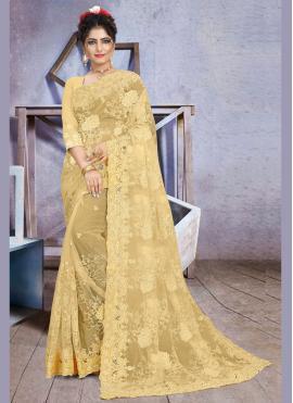 Exquisite Net Yellow Stone Work Traditional Saree