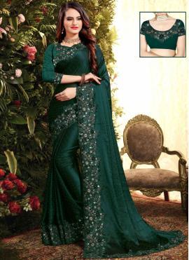 Exquisite Resham Green Georgette Classic Saree