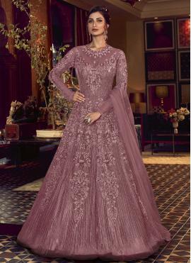 Exquisite Resham Purple Floor Length Anarkali Salwar Suit
