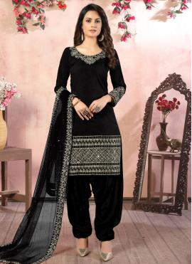 Extraordinary Black Resham Designer Patiala Suit