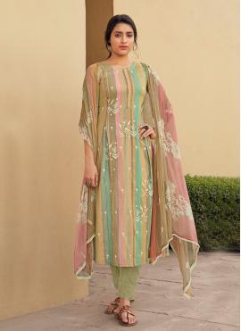 Extraordinary Embroidered Cotton Multi Colour Designer Suit