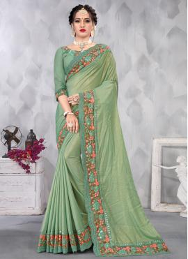Extraordinary Faux Chiffon Green Embroidered Designer Saree