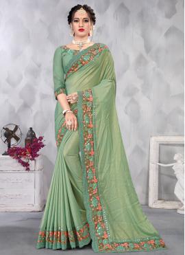 Extraordinary Faux Chiffon Green Embroidered Designer Saree