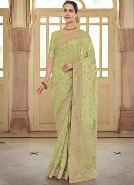 Extraordinary Georgette Satin Resham Green Contemporary Saree