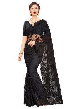Extraordinary Net Black Resham Trendy Saree