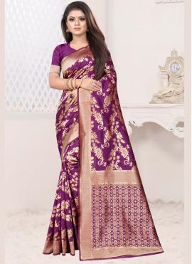 Extraordinary Purple Art Silk Traditional Designer Saree