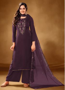 Exuberant Cotton Lawn Embroidered Purple Designer Pakistani Salwar Suit