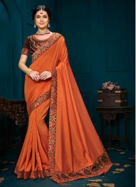 Exuberant Embroidered Poly Silk Trendy Saree