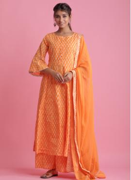 Exuberant Orange Block Print Readymade Suit