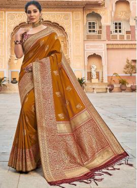 Eye-Catchy Brown Wedding Classic Designer Saree