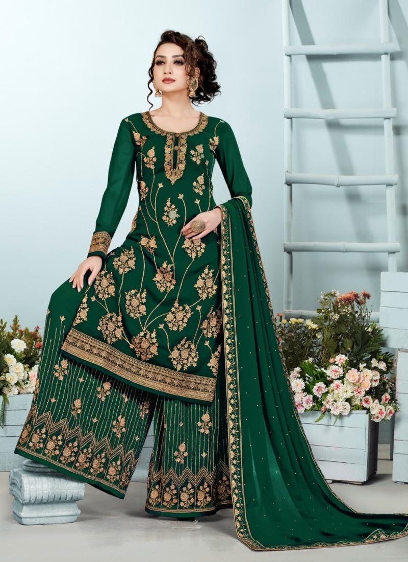 Eye-Catchy Embroidered Mehndi Designer Pakistani Suit