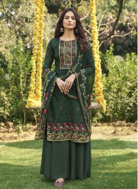 Eye-Catchy Handwork Cotton Green Designer Palazzo Salwar Suit