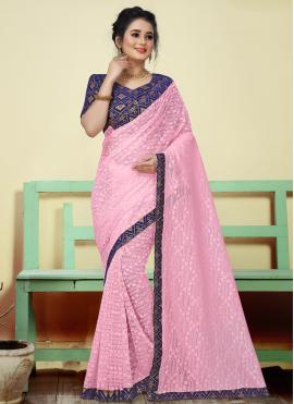 Eye-Catchy Pink Jacquard Classic Saree