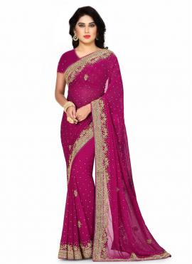 Eye-Catchy Rani Fancy Fabric Designer Saree