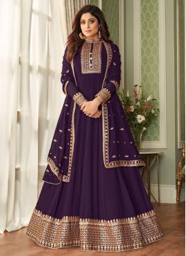 Eye-Catchy Resham Purple Shamita Shetty Floor Length Designer Suit