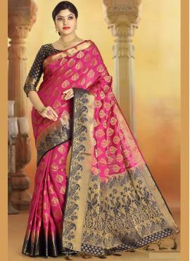 Eye-Catchy Silk Pink Weaving Trendy Saree