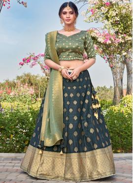 Eye-Catchy Silk Teal Weaving Bollywood Lehenga Choli