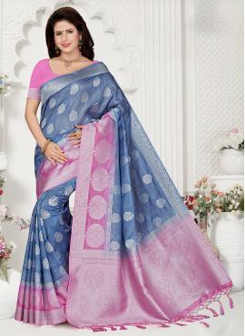 Eye-Catchy Zari Blue Designer Traditional Saree