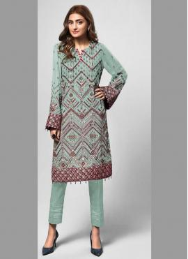 Fab Embroidered Sea Green Faux Georgette Designer Pakistani Suit