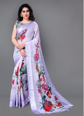 Fab Lavender Floral Print Cotton Trendy Saree
