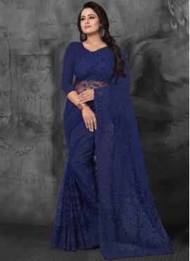 Fab Net Embroidered Designer Saree