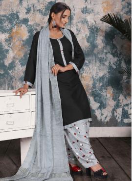 Fab Print Black Rayon Punjabi Suit
