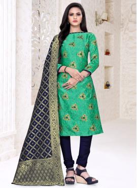 Fabulous Banarasi Silk Green Weaving Churidar Suit