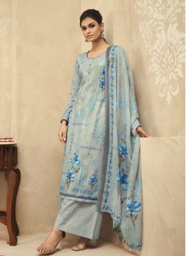 Fabulous Blue Embroidered Designer Palazzo Salwar Kameez