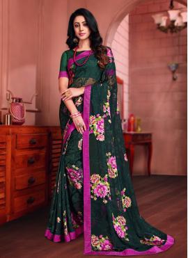 Fabulous Brasso Multi Colour Printed Saree