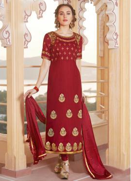Fabulous Chanderi Maroon Embroidered Designer Straight Suit