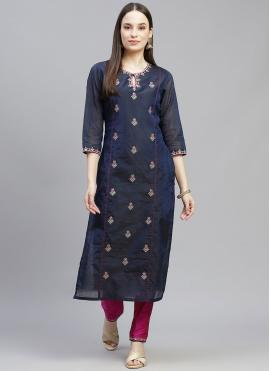 Fabulous Embroidered Chanderi Navy Blue Party Wear Kurti