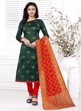 Fabulous Weaving Green Churidar Salwar Suit