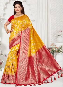 Fabulous Yellow Silk Classic Saree