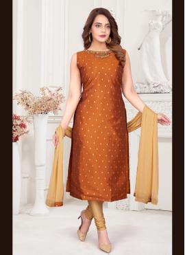 Fancy Art Silk Readymade Suit in Brown