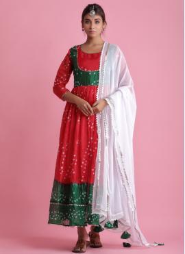 Fancy Art Silk Readymade Suit in Red