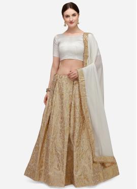 Fancy Banarasi Silk Lehenga Choli in Beige