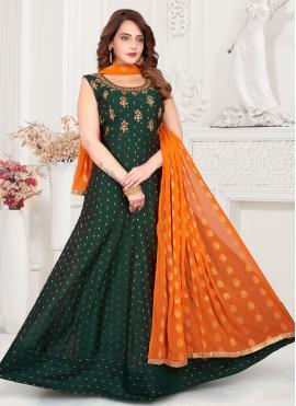Fancy Chanderi Readymade Suit in Green