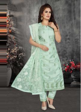 Fancy Chanderi Readymade Suit in Sea Green
