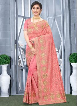 Fancy Fabric Embroidered Designer Traditional Saree in Peach