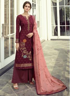 Fancy Fabric Embroidered Maroon Designer Pakistani Suit