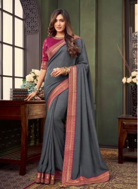 Fancy Fabric Grey Patch Border Trendy Saree