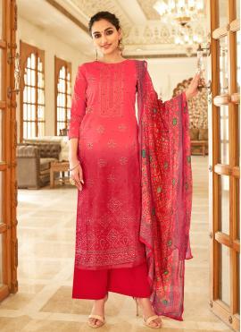 Fancy Fabric Red Designer Palazzo Salwar Kameez