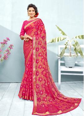 Fancy Faux Chiffon Classic Saree in Hot Pink