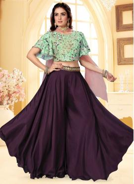 Fancy Faux Chiffon Readymade Suit in Purple and Sea Green