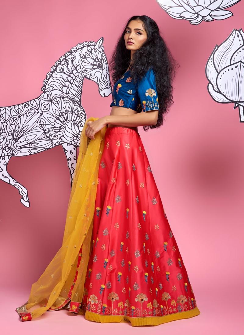 Fancy Satin Silk A Line Lehenga Choli in Red