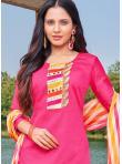Fantastic Embroidered Hot Pink Cotton Churidar Designer Suit - 1